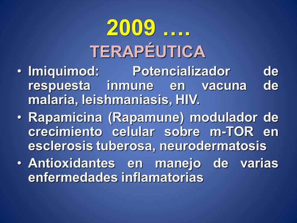 2009 …. TERAPÉUTICA. Imiquimod: Potencializador de respuesta inmune en vacuna de malaria, leishmaniasis, HIV.