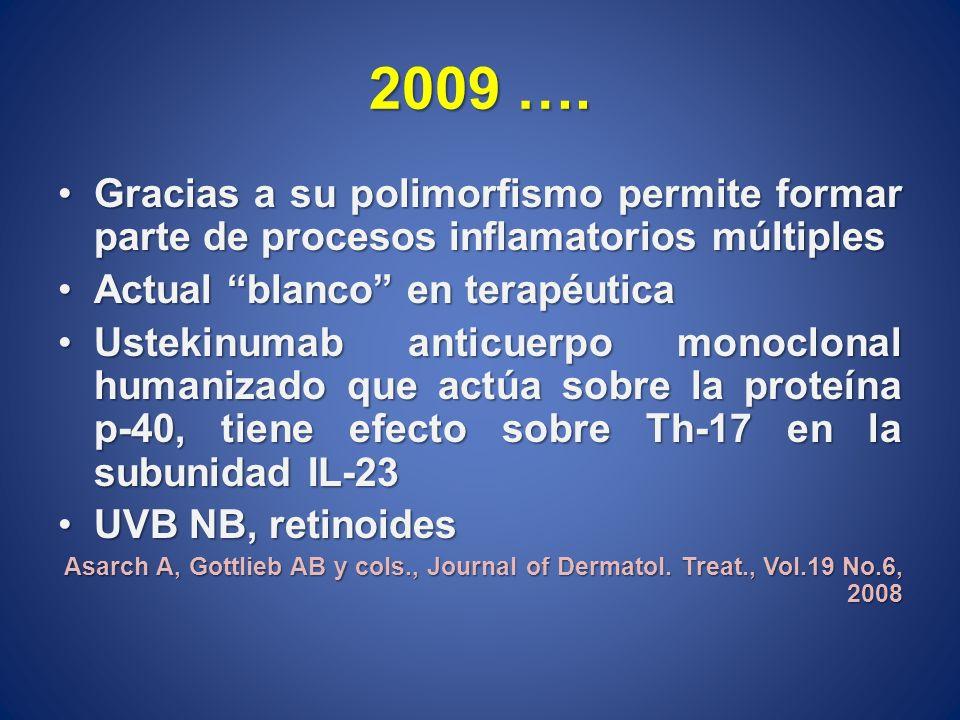 2009 …. Gracias a su polimorfismo permite formar parte de procesos inflamatorios múltiples. Actual blanco en terapéutica.