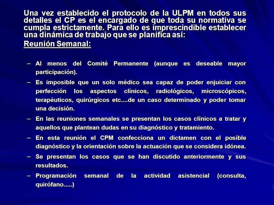 Una vez establecido el protocolo de la ULPM en todos sus detalles el CP es el encargado de que toda su normativa se cumpla estrictamente. Para ello es imprescindible establecer una dinámica de trabajo que se planifica así:
