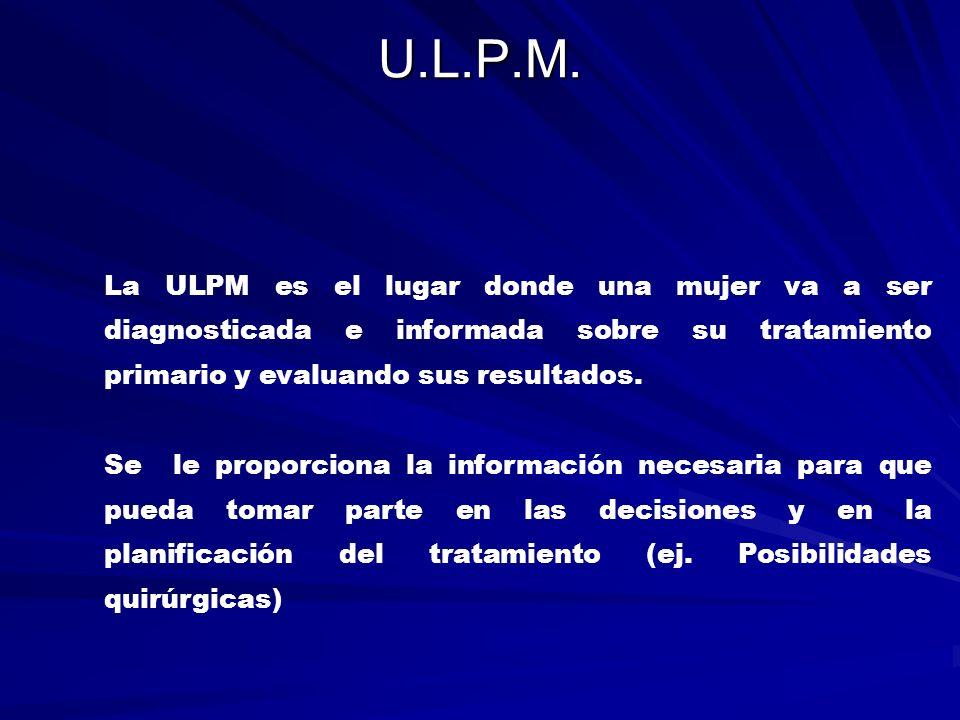 U.L.P.M. La ULPM es el lugar donde una mujer va a ser diagnosticada e informada sobre su tratamiento primario y evaluando sus resultados.