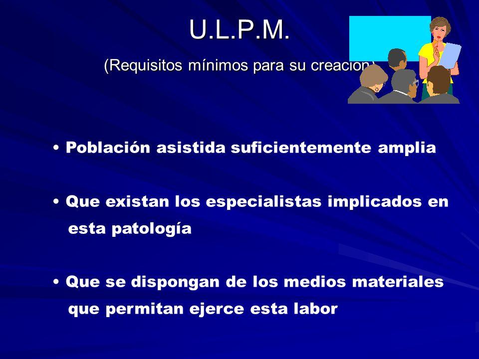 U.L.P.M. (Requisitos mínimos para su creación)