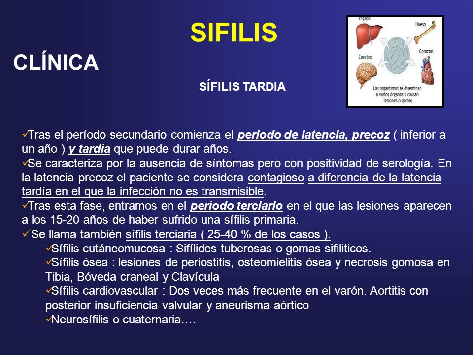 SIFILIS CLÍNICA SÍFILIS TARDIA