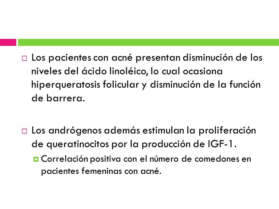 Los pacientes con acné presentan disminución de los niveles del ácido linoléico, lo cual ocasiona hiperqueratosis folicular y disminución de la función de barrera.