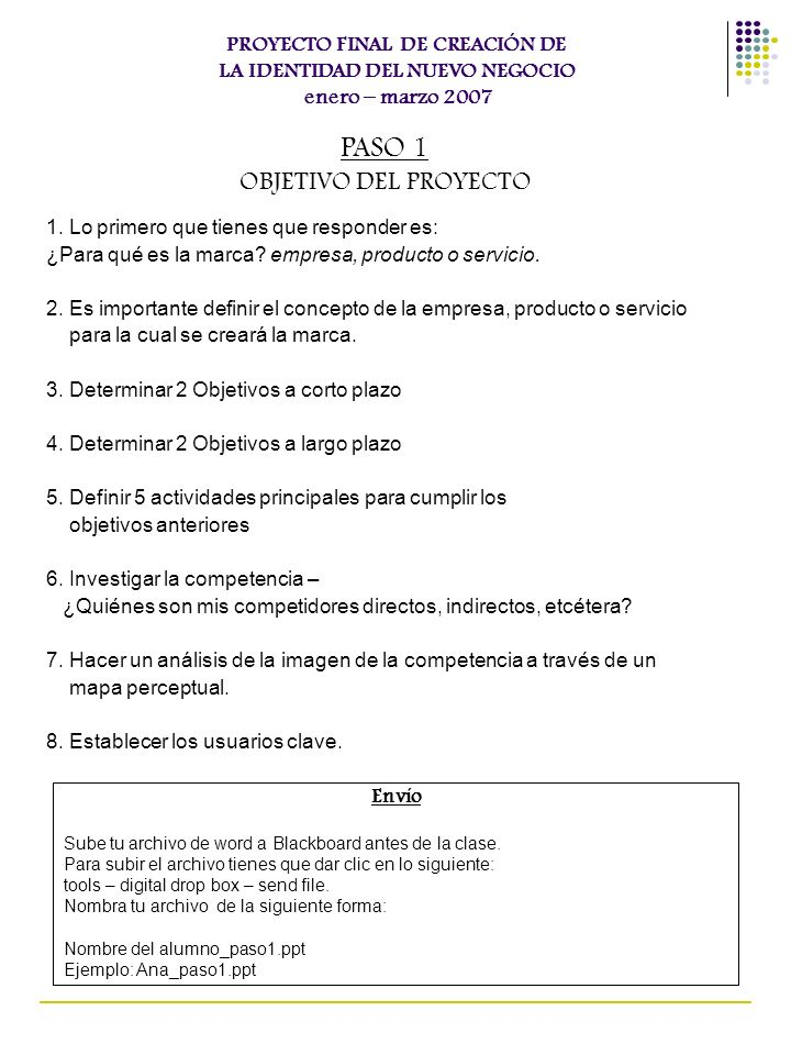 PASO 1 OBJETIVO DEL PROYECTO