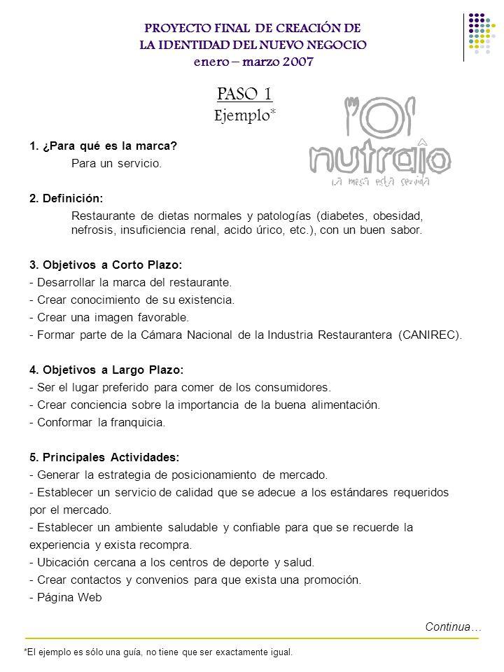 PROYECTO FINAL DE CREACIÓN DE LA IDENTIDAD DEL NUEVO NEGOCIO enero – marzo 2007