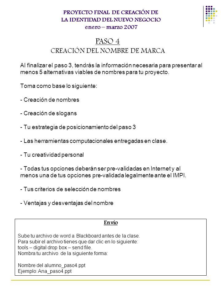 CREACIÓN DEL NOMBRE DE MARCA