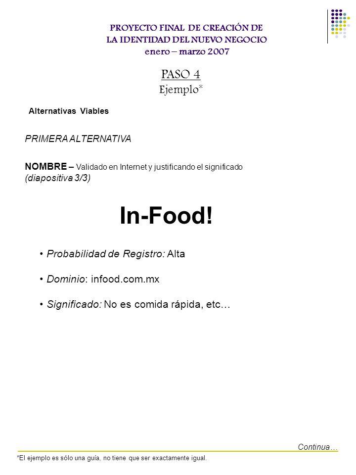 In-Food! PASO 4 Ejemplo* Probabilidad de Registro: Alta