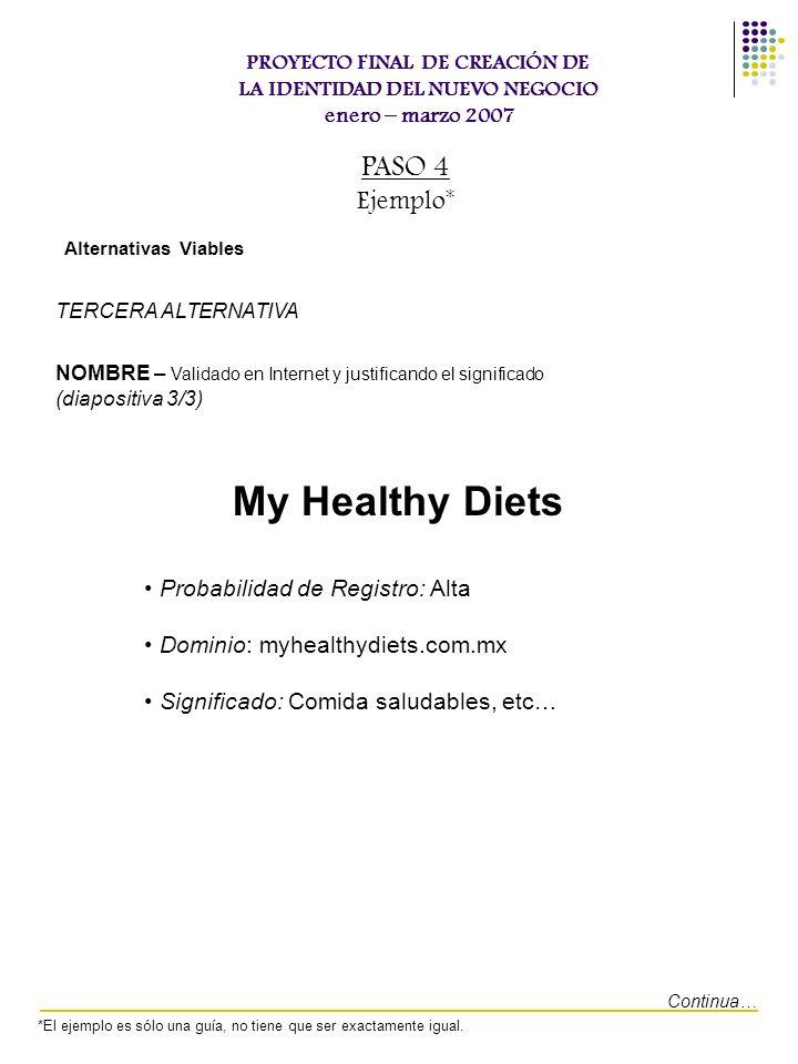 My Healthy Diets PASO 4 Ejemplo* Probabilidad de Registro: Alta