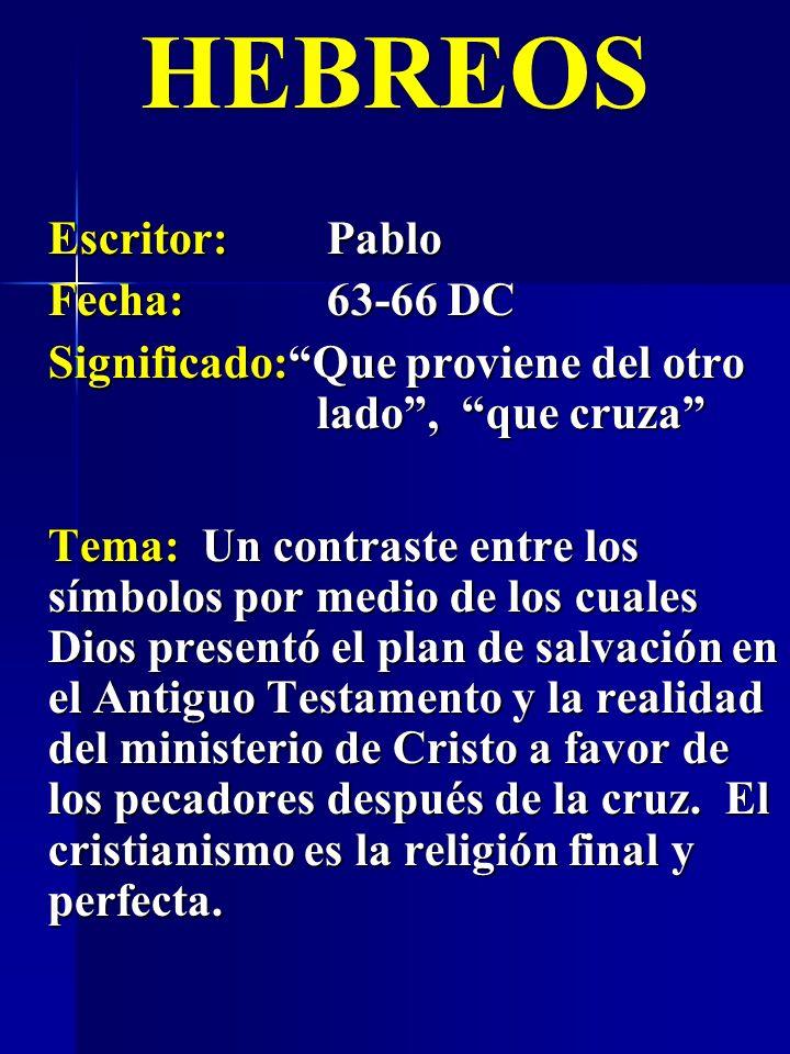 HEBREOS Escritor: Pablo Fecha: 63-66 DC