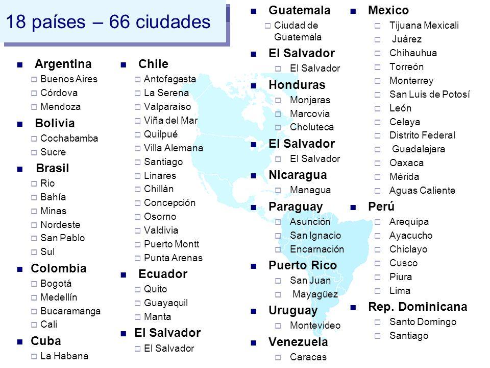 18 países – 66 ciudades Guatemala El Salvador Honduras Nicaragua
