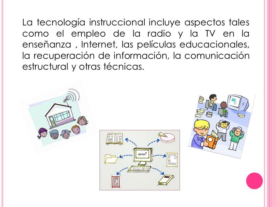 La tecnología instruccional incluye aspectos tales como el empleo de la radio y la TV en la enseñanza , Internet, las películas educacionales, la recuperación de información, la comunicación estructural y otras técnicas.
