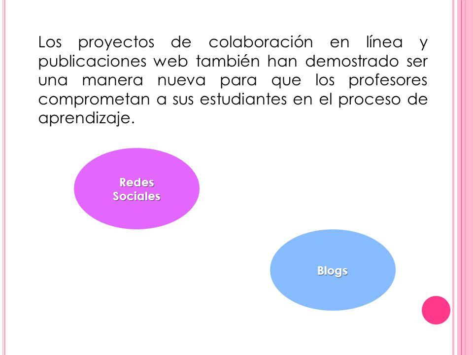 Los proyectos de colaboración en línea y publicaciones web también han demostrado ser una manera nueva para que los profesores comprometan a sus estudiantes en el proceso de aprendizaje.