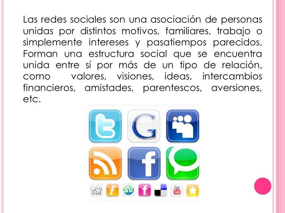 Las redes sociales son una asociación de personas unidas por distintos motivos, familiares, trabajo o simplemente intereses y pasatiempos parecidos.
