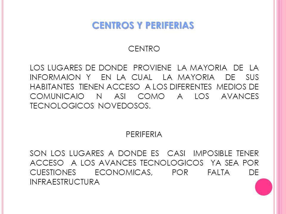 CENTROS Y PERIFERIAS CENTRO