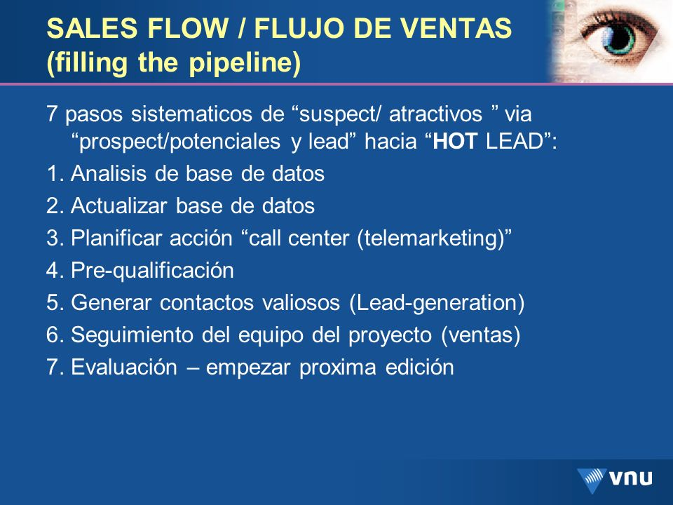 SALES FLOW / FLUJO DE VENTAS (filling the pipeline)