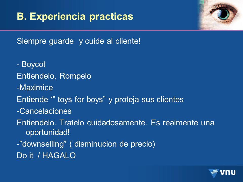 B. Experiencia practicas