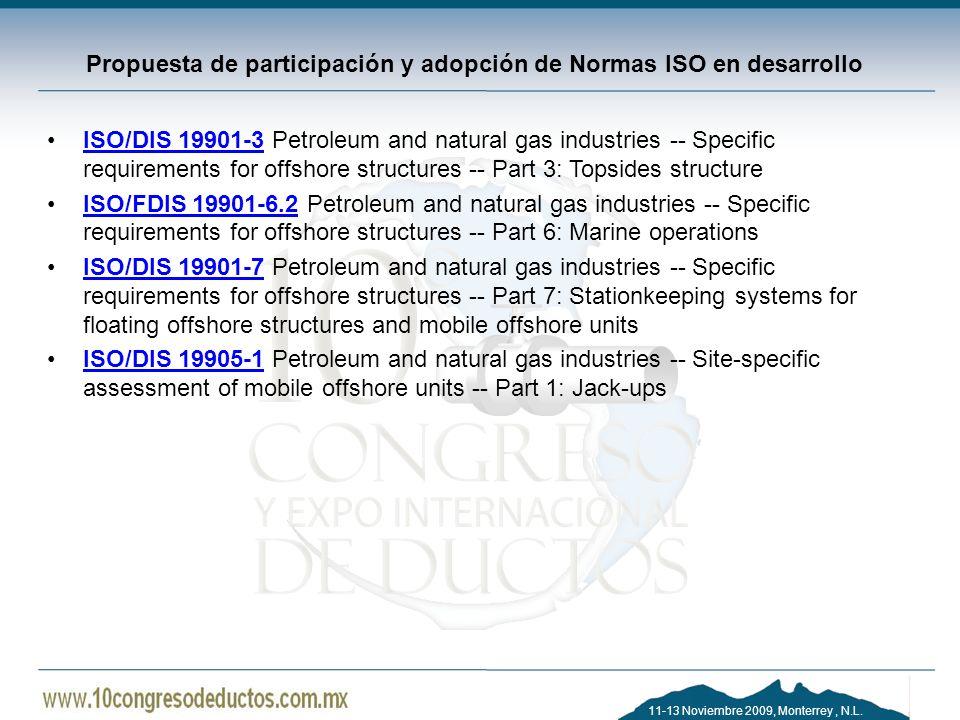 Propuesta de participación y adopción de Normas ISO en desarrollo