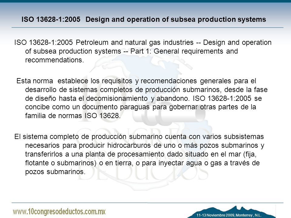 ISO :2005 Design and operation of subsea production systems