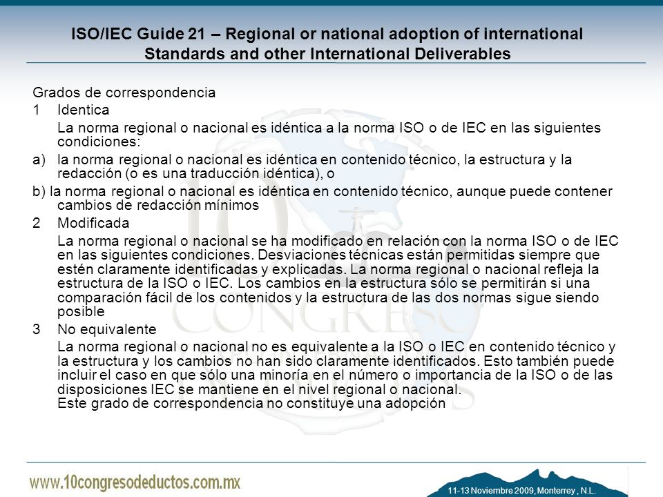 ISO/IEC Guide 21 – Regional or national adoption of international Standards and other International Deliverables