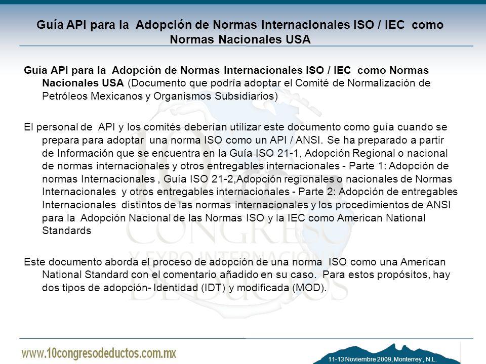 Guía API para la Adopción de Normas Internacionales ISO / IEC como Normas Nacionales USA