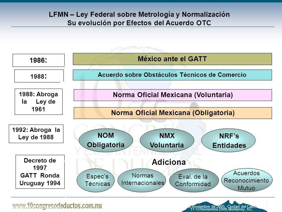 LFMN – Ley Federal sobre Metrología y Normalización Su evolución por Efectos del Acuerdo OTC