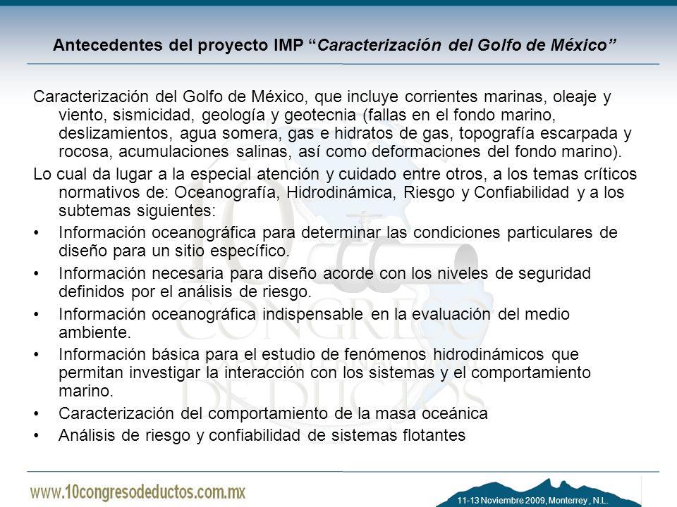 Antecedentes del proyecto IMP Caracterización del Golfo de México