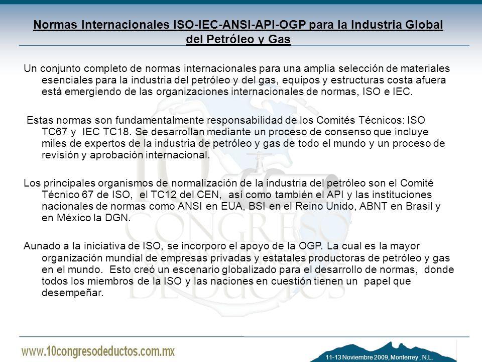 Normas Internacionales ISO-IEC-ANSI-API-OGP para la Industria Global del Petróleo y Gas
