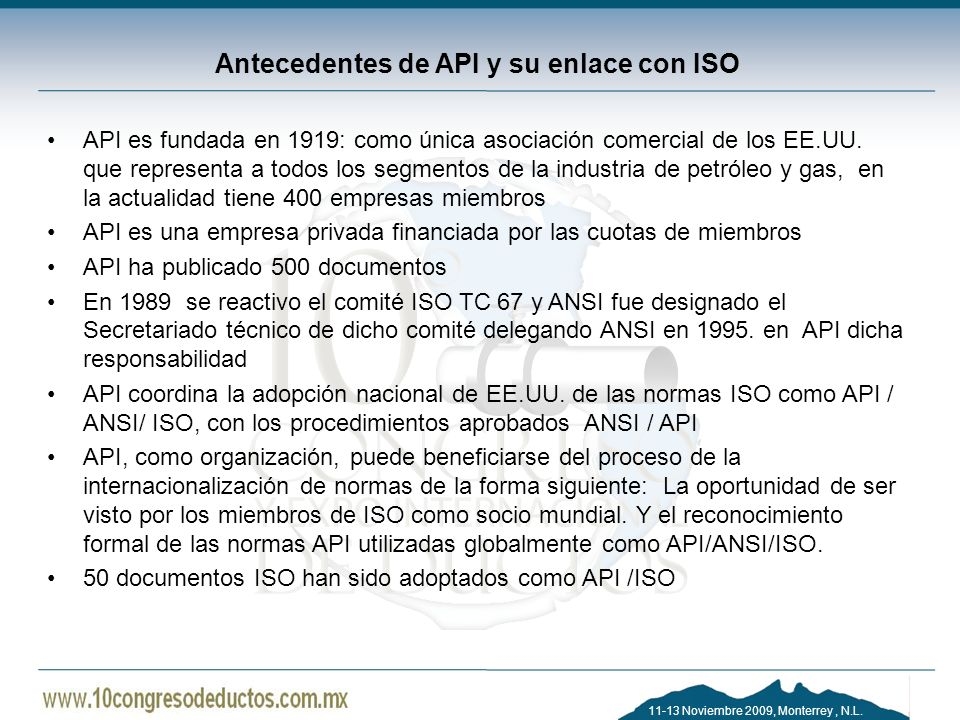 Antecedentes de API y su enlace con ISO