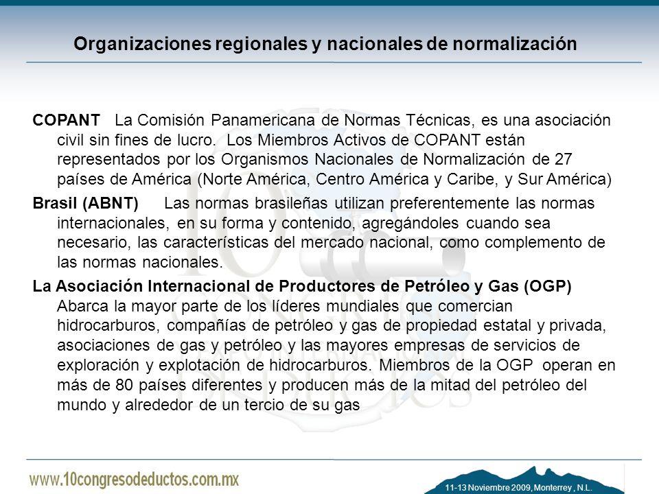 Organizaciones regionales y nacionales de normalización