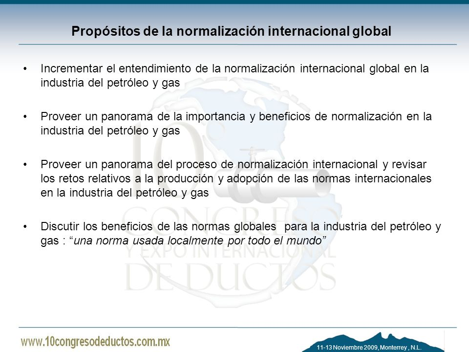 Propósitos de la normalización internacional global