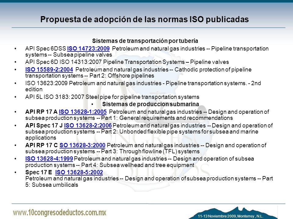Propuesta de adopción de las normas ISO publicadas