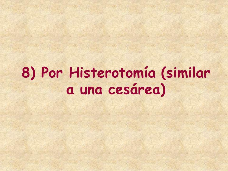 8) Por Histerotomía (similar a una cesárea)
