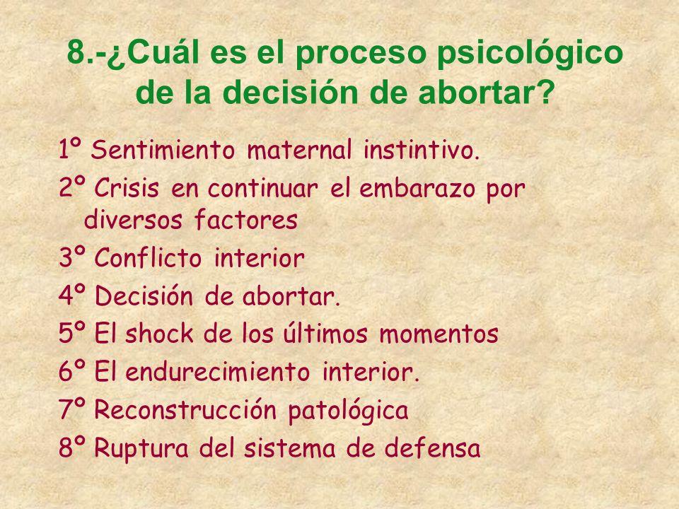 8.-¿Cuál es el proceso psicológico de la decisión de abortar