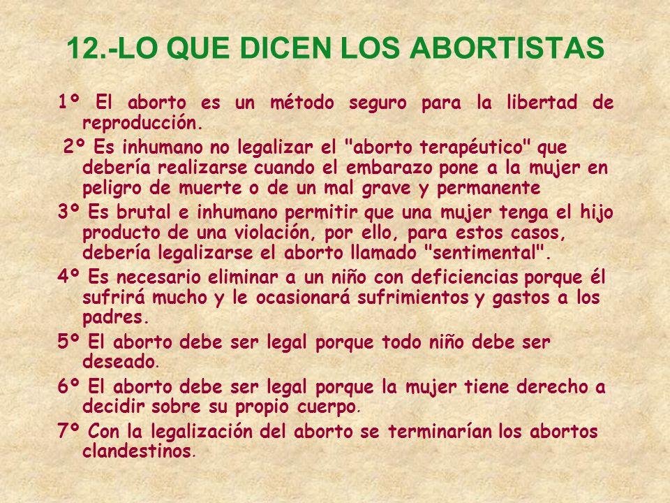 12.-LO QUE DICEN LOS ABORTISTAS