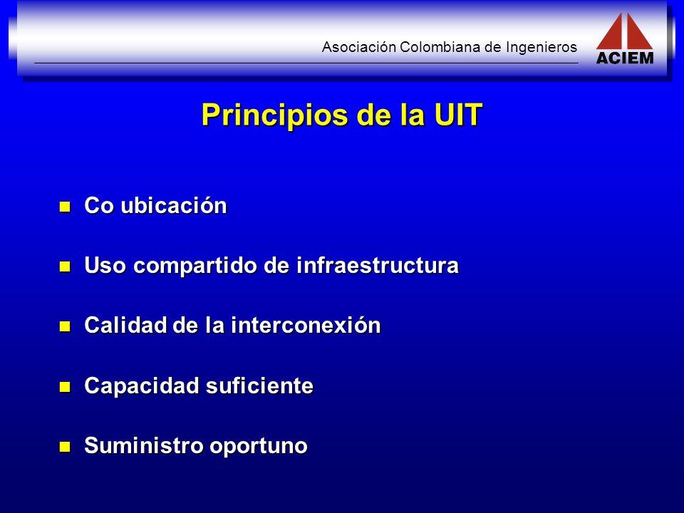 Principios de la UIT Co ubicación Uso compartido de infraestructura