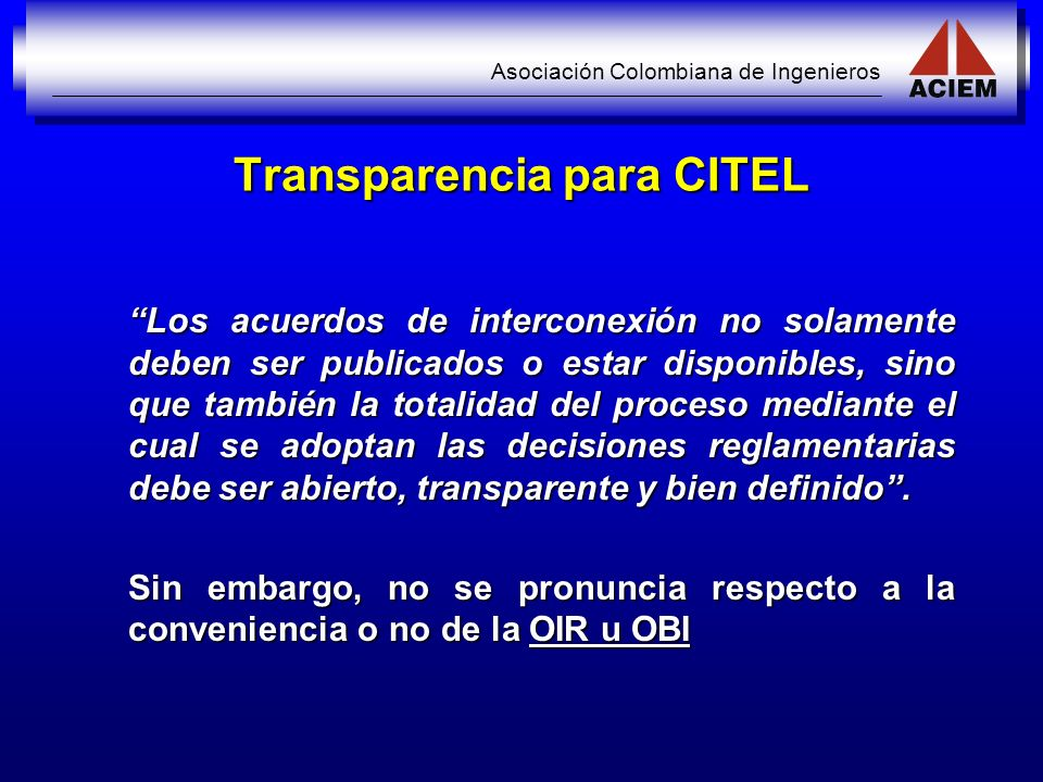 Transparencia para CITEL