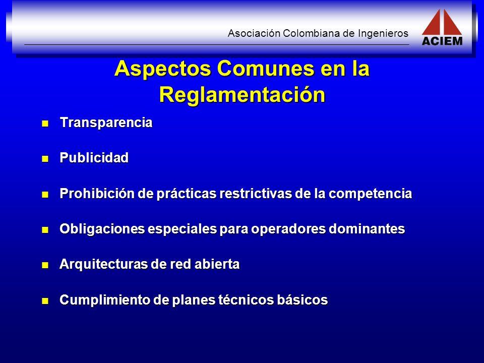 Aspectos Comunes en la Reglamentación