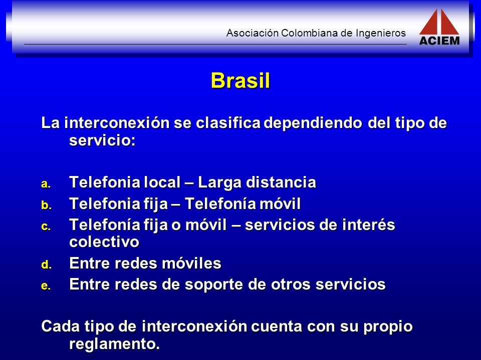 Brasil La interconexión se clasifica dependiendo del tipo de servicio: