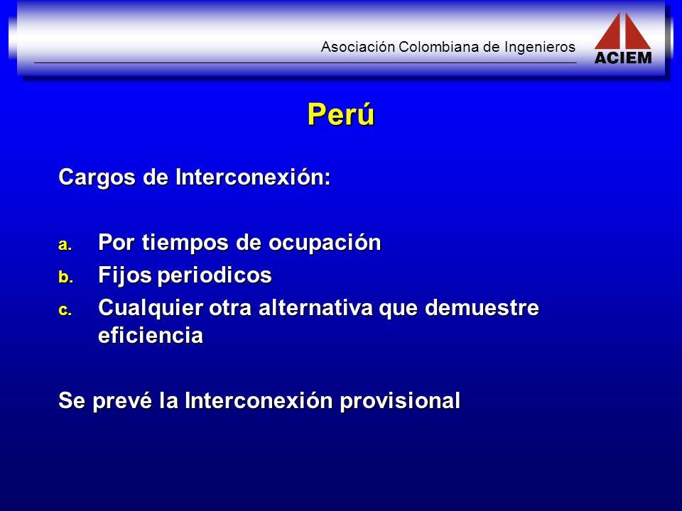 Perú Cargos de Interconexión: Por tiempos de ocupación