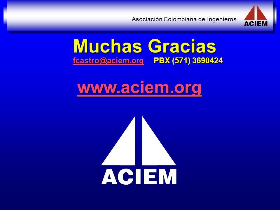 Muchas Gracias fcastro@aciem.org PBX (571) 3690424