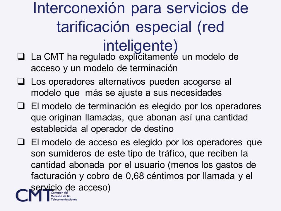 Interconexión para servicios de tarificación especial (red inteligente)