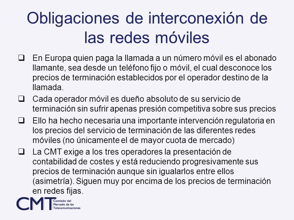 Obligaciones de interconexión de las redes móviles
