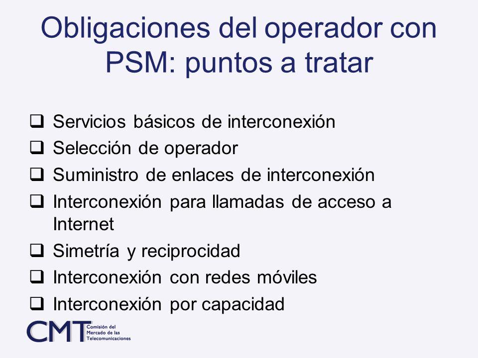 Obligaciones del operador con PSM: puntos a tratar
