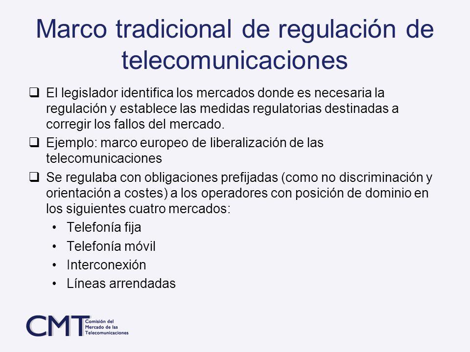 Marco tradicional de regulación de telecomunicaciones