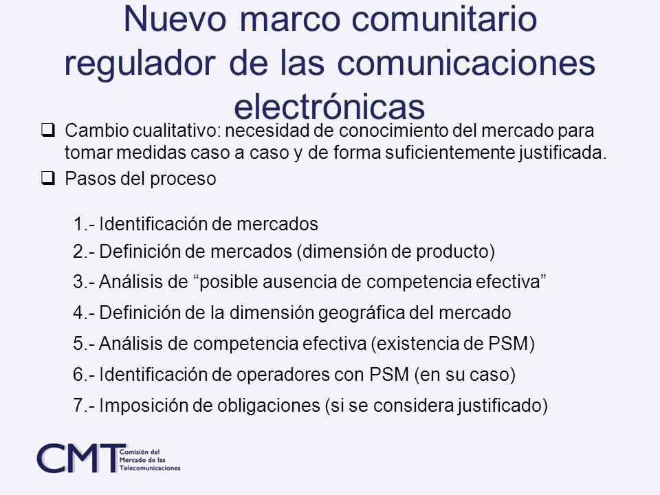Nuevo marco comunitario regulador de las comunicaciones electrónicas
