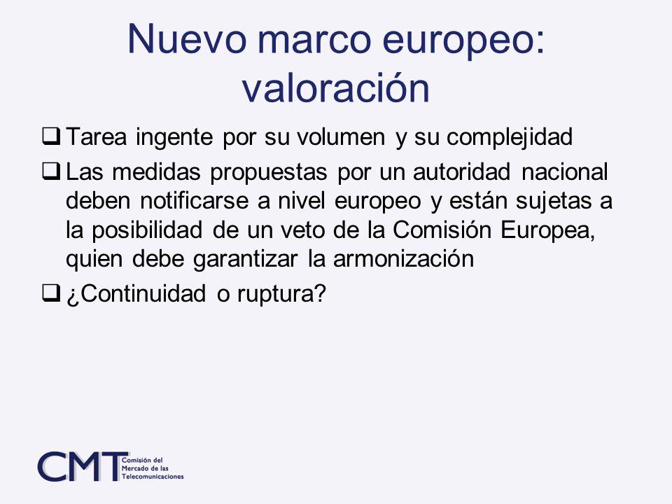 Nuevo marco europeo: valoración