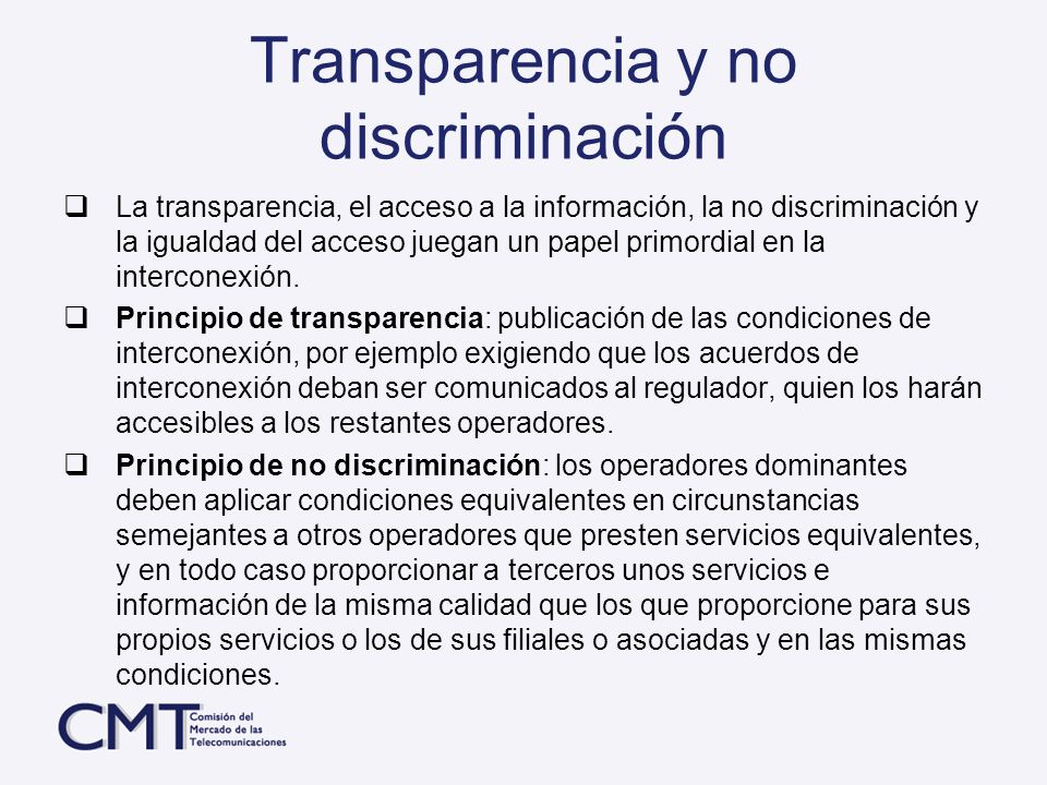 Transparencia y no discriminación