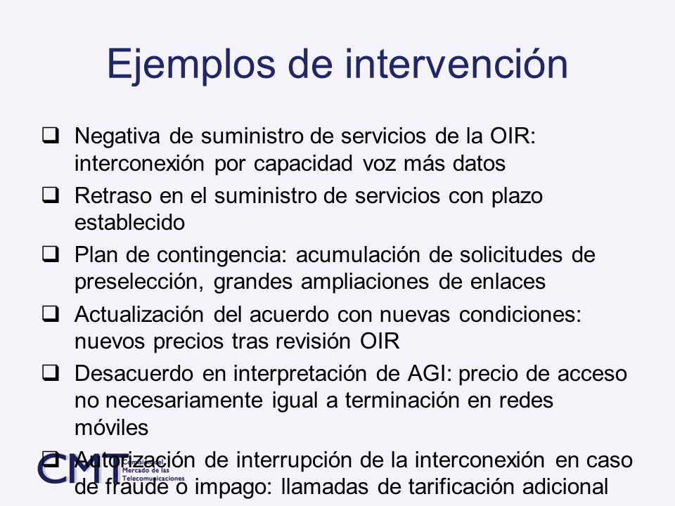 Ejemplos de intervención