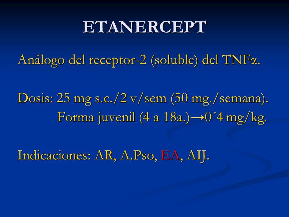 ETANERCEPT Análogo del receptor-2 (soluble) del TNFα.