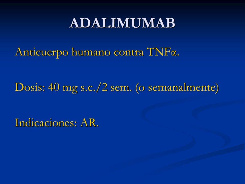 ADALIMUMAB Anticuerpo humano contra TNFα.